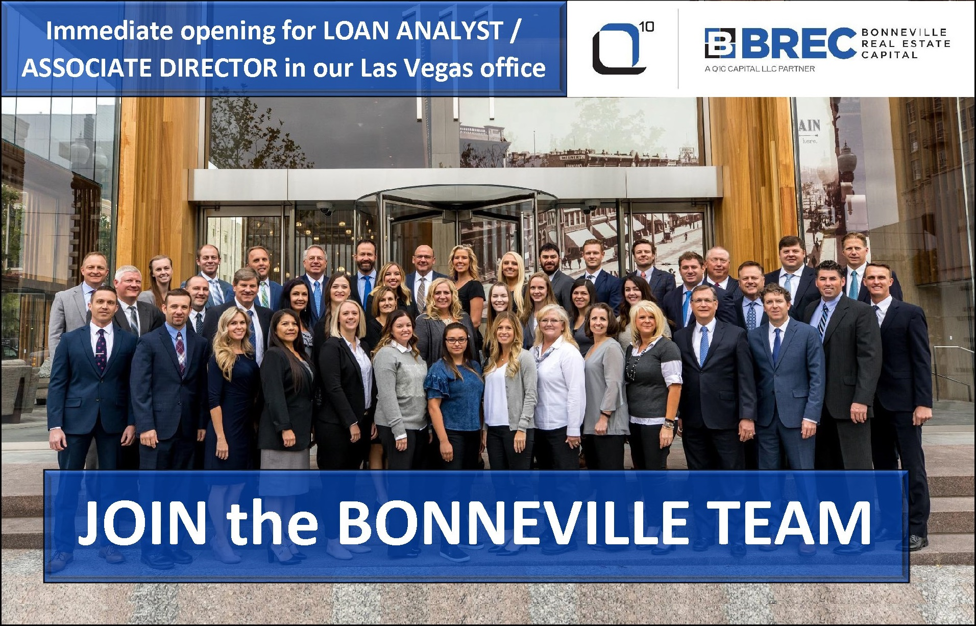 Immediate opening for a LOAN ANALYST / ASSOCIATE DIRECTOR in our Las Vegas office. Join the Bonneville team.